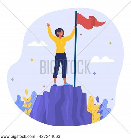 Successful Businesswoman Concept. The Woman Climbed The Mountain. A Metaphor For Hard Work And Achie