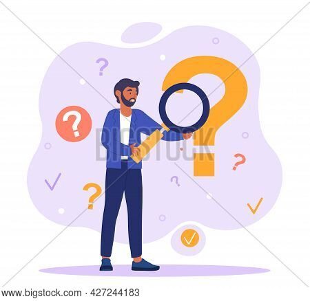 Search For Information Concept. A Man With A Large Magnifying Glass Is Looking For Answers To His Qu