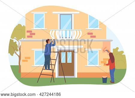 Repairing House Concept. Man With A Hammer Fixes The Fence Of The Balcony. Woman Paints The Facade O