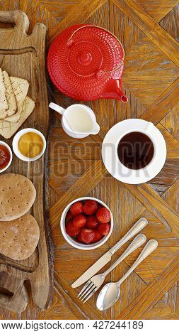 Healthy Continental Breakfast, Cenital View, Cup Of Tea, Wholemeal Bread, Gluten Free Biscuits, Milk