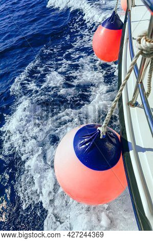 Boat Fenders Of Sailing Ship . Ship Bumpers . Polyform Water  Buoy