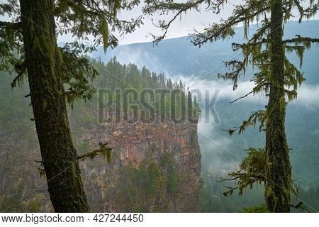 Wells Gray Park Mist Canada. Cliffs And Forests In Canada's Wells Gray Provincial Park.