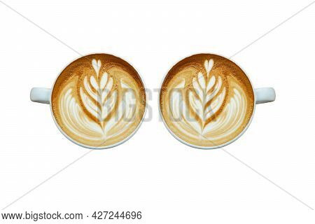 A Heart Pattern Late-art Coffee In A White Clean Cup On White Background,two White Cups Of Tasty Cap