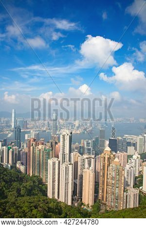 HONG KONG - SEPTEMBER 30: View from the Victoria peak on September 30, 2017 in Hong Kong, China. Hong Kong Victoria peak is the main landmark of the city.