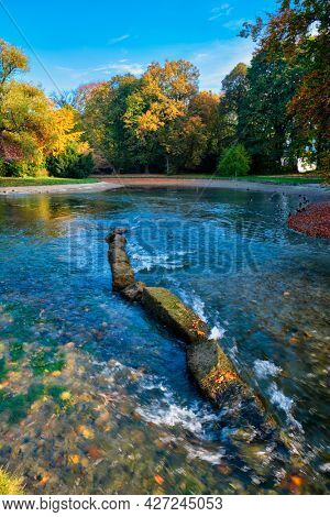 Golden autumn fall October in famous Munich relax place - Englishgarten. English garden with with river and fallen leaves and golden sunlight. Munchen, Bavaria, Germany