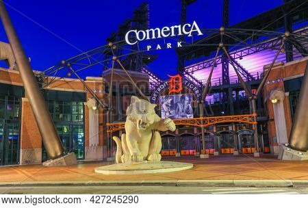 Detroit, Michigan, USA - August 30, 2020: Entrance of Comerica Park stadium in nighttime, home of the Detroit Tigers team.