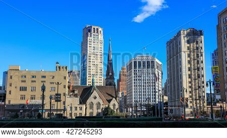 Detroit, Michigan, USA - August 30, 2020: Central United Methodist Church in downtown Detroit , helps the homeless with meals and clothing.