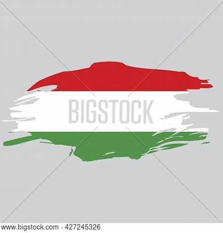 Abstract Hungary Grunge Flag For Decorative Design. Elegant Design. Watercolor Illustration. Vector