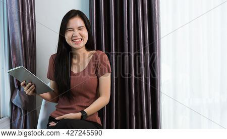 Work From Home, Happy Asian Young Businesswoman Smile Video Conference Call Or Facetime By Modern Di