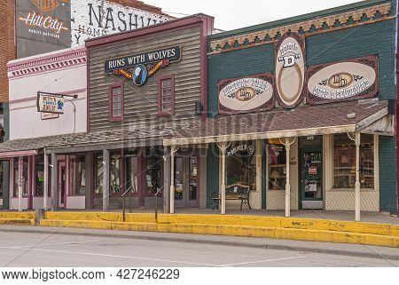 Black Hills National Forest, Sd, Usa - May 31, 2008: Downtown Hill City Main Street. 3 Smaller Store