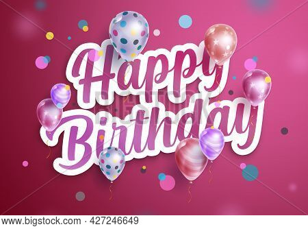 Happy Birthday Vector Design. Happy Birthday Text In Paper Cut Pink Decoration And Background With F