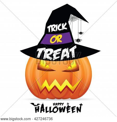 Halloween Pumpkin With Scary Face  On White Background. Vector Cartoon Illustration.