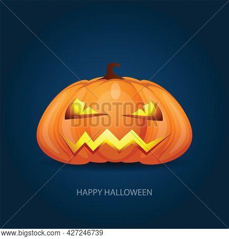 Halloween Pumpkin With Scary Face On Dark Background. Vector Cartoon Illustration.