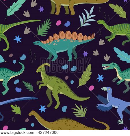 Seamless Pattern With Cartoon Doodle Dinosaurs And Nature Elements, Rocks, Leaves And Stars. Adorabl
