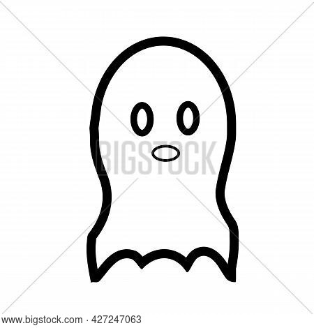 Ghost Line Icon On White Background. Ghost Halloween Sign. Ghost Symbol. Flat Style.