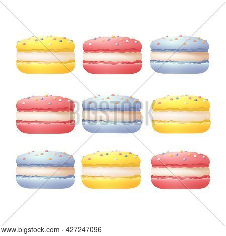Set Of Colorful Macaroons Vector Templates Traditional French Desserts With White Cream And Sprinkle
