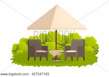 Wooden Round Table With Tablecloth, Parasol And Two Armchairs Textured In Cartoon Style Isolated On