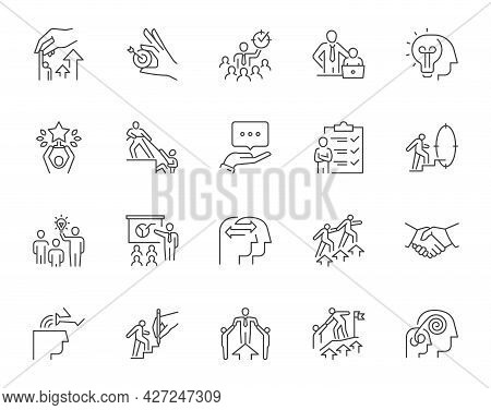 Set Of Mentoring Related Line Icons. Contains Such Icons As Personal Development, Experience Exchang