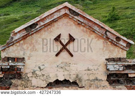 The Building Of An Old Abandoned Mercury Mine In The Altai Republic. A Beautiful Old Brick Building