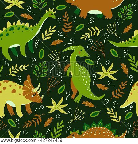 Cute Cartoon Dinosaurs Seamless Vector Pattern. Bright Animals Of The Jurassic Period In The Jungle