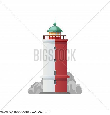 Lighthouse Icon With Isolated Vector Ocean And Sea Beacon Tower, Nautical Navigation And Marine Trav