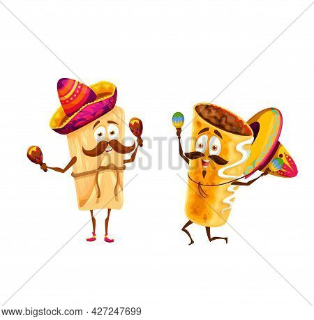 Cartoon Mexican Tamales And Chimichanga Happy Characters. Vector Mariachi Funny Musicians In Sombrer