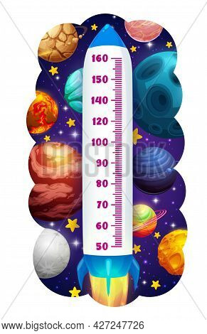 Kids Height Chart In Space, Rocket And Planets Growth Measure. Cartoon Vector Meter Shuttle With Sca