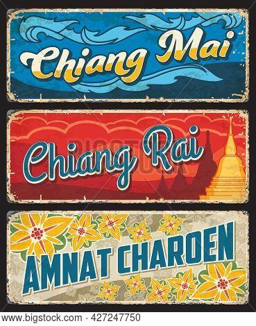 Chiang Mai, Chiang Rai And Amnat Charoen Thailand Province Vector Plates With Buddhist Temple Stupa