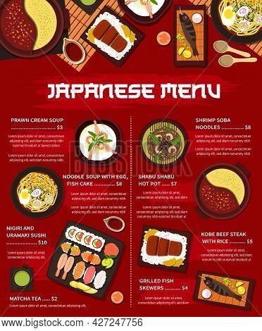 Japanese Cuisine Vector Menu Grilled Fish Skewers, Nigiri And Uramaki Sushi And Shrimp Soba Noodles.