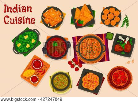 Indian Cuisine Food With Vector Dishes Of Meat And Seafood Curries, Fried Pastry Samosa And Khaman D
