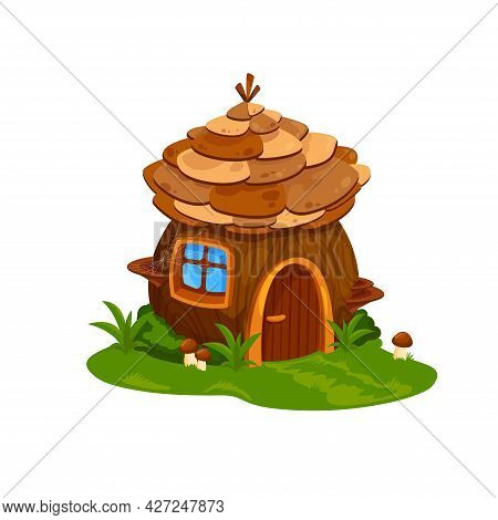 Fairy Wooden House Or Dwelling Of Wizard. Vector Fairytale Home For Dwarf Or Gnome With Wood Door, S