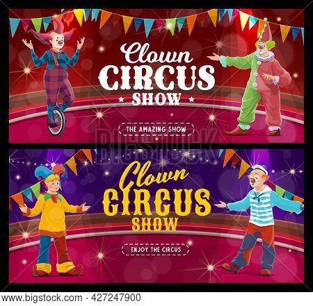 Shapito Circus Cartoon Clowns And Jesters, Vector Artists Or Performers On Big Top Arena. Carnival S