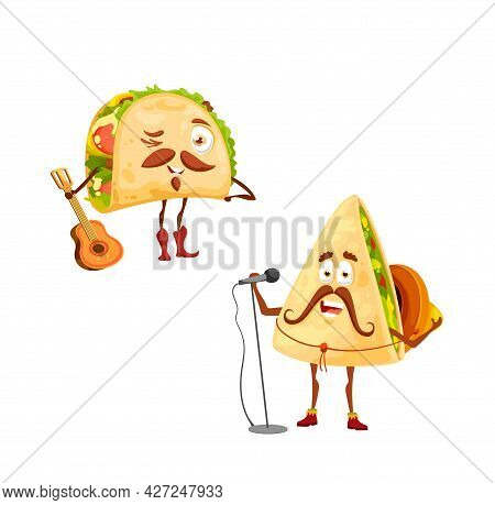 Cartoon Mexican Tacos And Quesadilla Characters. Vector Singer In Sombrero With Microphone And Funny