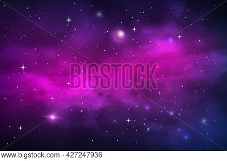 Space Planets And Stars, Galaxy Nebula And Stardust Vector Cosmic Background. Blue Purple Realistic