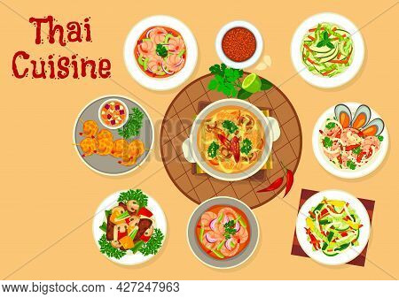 Thai Cuisine Food Vector Design Of Asian Seafood And Vegetable Salads, Soups And Meat Stew. Panang C