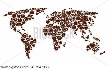 Chocolate Bars And Candies World Map Vector Design Of Sweet Food. Dark Chocolate, Bitter Cocoa And C