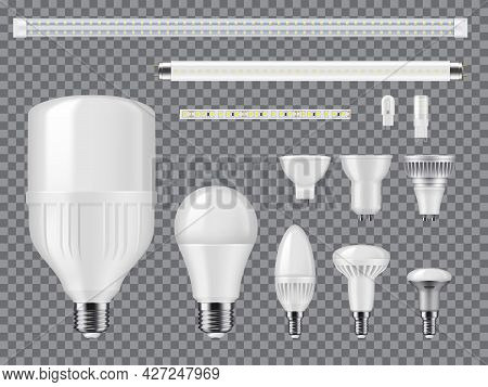 Led And Halogen Light Bulbs, Linear Lamps And Strips Mockup. Realistic Vector Modern Ligtbulbs With