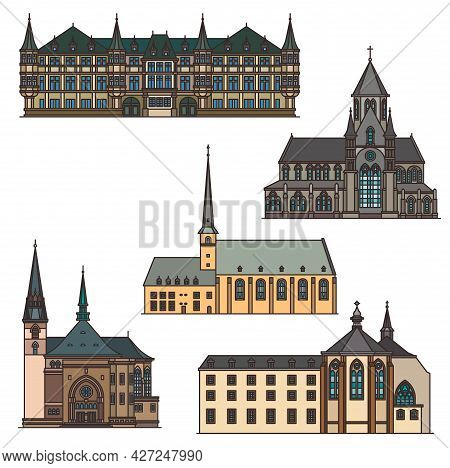 Luxembourg Travel Landmarks And Architecture, Vector City Sightseeing Buildings. Luxembourg Saint Tr