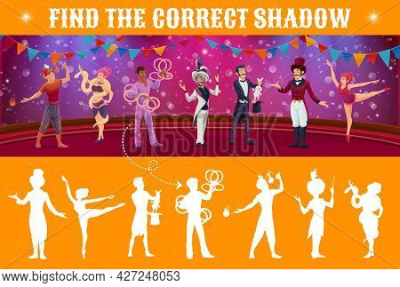 Find Shadow Vector Kids Game With Circus Characters On Shapito Stage. Search And Match Mind Game, Pu