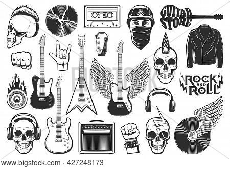 Rock Music Symbols, Musical Instruments Icons Set. Scull With Mohawk Haircut, Electric Guitars And H