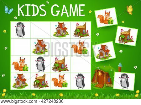Sudoku Game With Cartoon Fairytale Houses And Animals, Vector Kids Education. Block Puzzle, Logic Ri