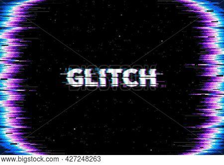 Glitch Screen Background. Monitor Error Glitch Effect, Tv Signal Loss And Broken Display Vector Back