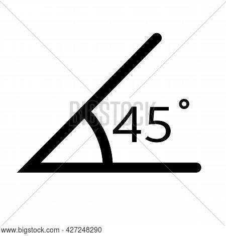 45 Degree Angle Icon On White Background. Angle Measurement Sign. Angle Symbol. Flat Style.