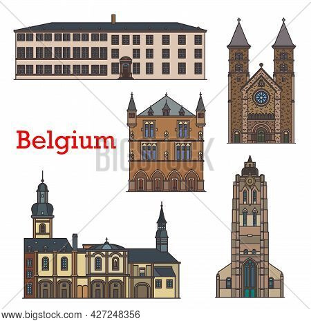Luxembourg Landmarks, Architecture Buildings, Vector Travel Sightseeing. Basilica Of Saint Willibror