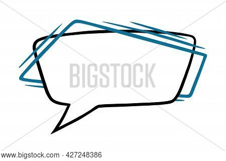 Square Speech Bubble With Blue Lines. Outline Speech Box Or Frame Isolated In White Background. Hand
