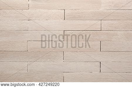 White Oiled Solid Beech Parquet In English Bond. Using Aus Header Or Background With Space For Text.