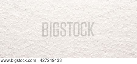 Texture Of Polystyrene Board, Close Up As Background, Packing Or Insulation Concept, Header Or Backd