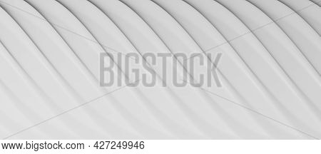 Abstract Lines Or Waves Background In White, 3d Rendering