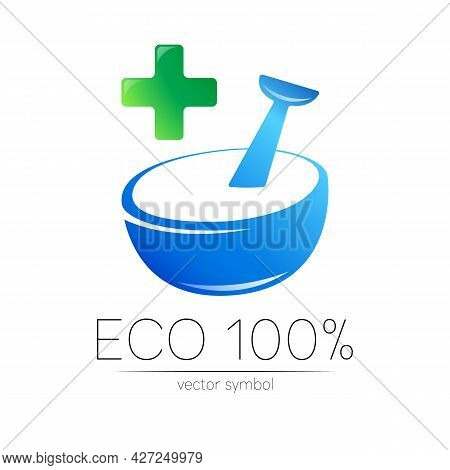 Organic Vector Symbol In Blue And Green Color. Concept Logo With Cross For Business. Herbal Sign For