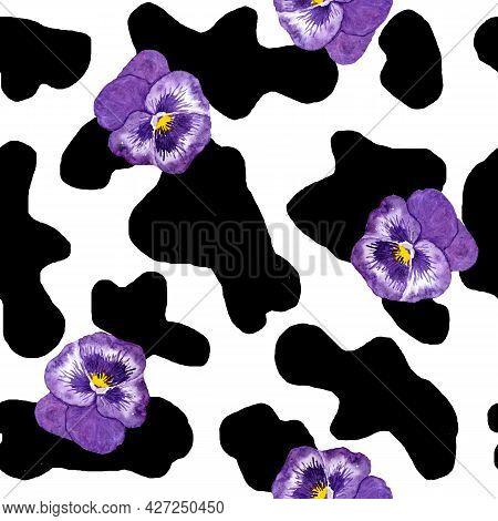 Watercolor Hand Drawn Seamless Cow Print Fabric Pattern, Black White Pastel Purple Violet Colors. Pa